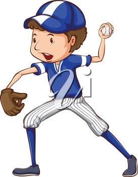 Illustration of a simple drawing of a baseball player in blue uniform on a white background