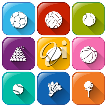 Illustration of the rounded icons with the different balls on a white background