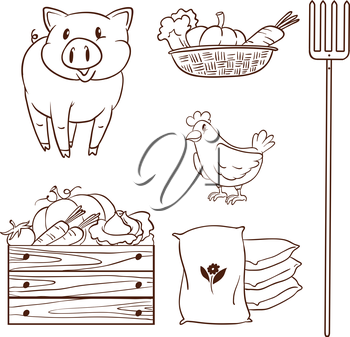 Illustration of a simple sketch of the farm animals and the harvested vegetables on a white background