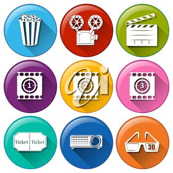Illustration of the icons with different movie images on a white background