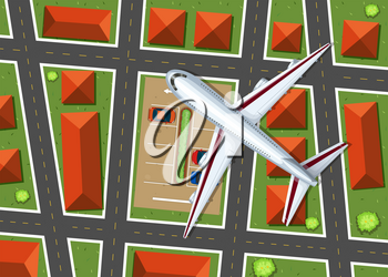 Aerial view of airplane flying over neighborhood illustration