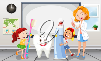 Children and dentist in the room illustration