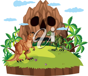 Scene with two dinosaurs  illustration