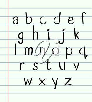 Handwriting english font A to Z illustration