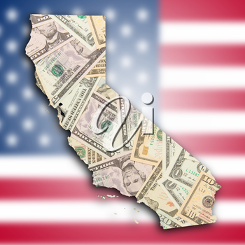 Map of California, filled with US dollars