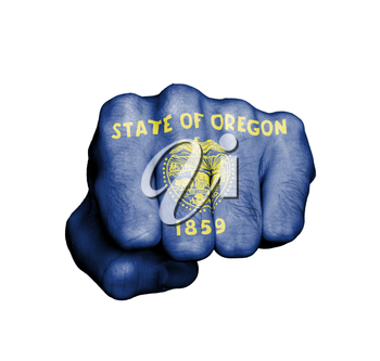 United states, fist with the flag of a state, Oregon