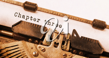 Vintage inscription made by old typewriter, chapter 3