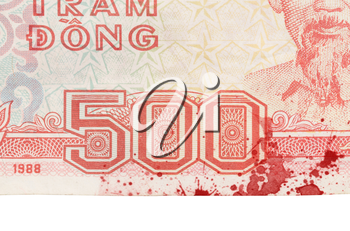 Old Vietnamese Dong, Vietnamese currency, close-up
