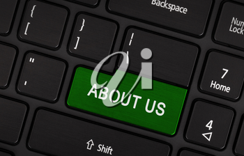 About us concept, green enter button or key on white keyboard