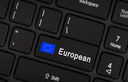Enter button with flag EU - Concept of language (learning or translate)