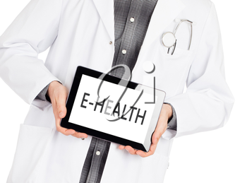 Doctor, isolated on white backgroun,  holding digital tablet - E-Health