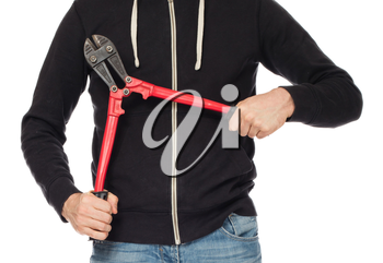 Robber with red bolt cutters, isolated on white