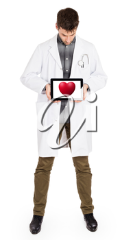 Doctor holding tablet, isolated on white - Red heart