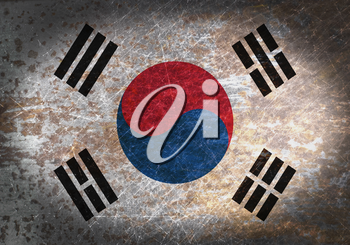 Old rusty metal sign with a flag - South Korea