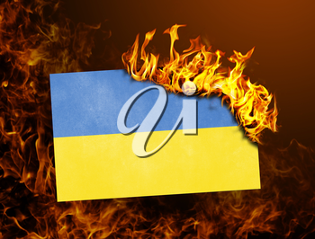 Flag burning - concept of war or crisis - Ukraine