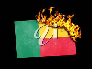 Flag burning - concept of war or crisis - Benin