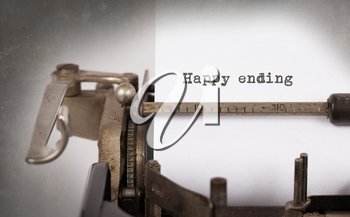 Vintage inscription made by old typewriter, Happy ending