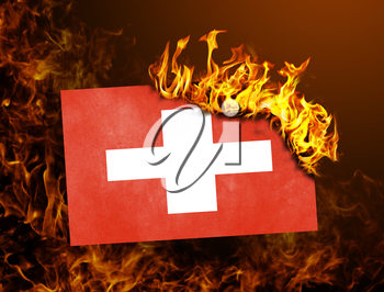 Flag burning - concept of war or crisis - Switzerland