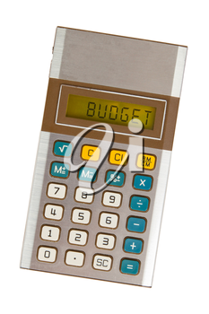 Old calculator showing a text on display - budgeting