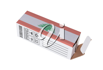 Concept of export, opened paper box - Product of Lebanon