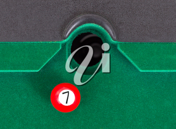 Red snooker ball is going to fall - number 7