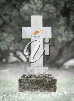 Old weathered gravestone in the cemetery - Cyprus