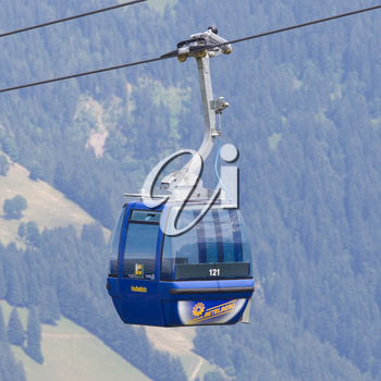Lenk im Simmental, Switzerland - July 12, 2015: Ski lift in mountain during the summer. The village is located in the canton Bern, Lenk, August 12, 2015
