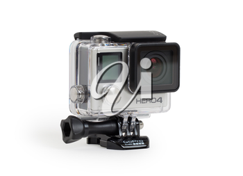 Amsterdam, the Netherlands - June 30, 2015: GoPro Hero 4 Black Edition isolated on white background, GoPro is a brand of high-definition personal cameras, often used in extreme action video photograph