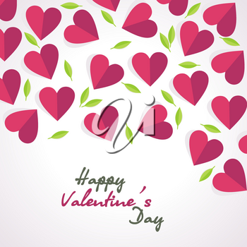 Valentine's day card, vector background with red hearts and green leaves.