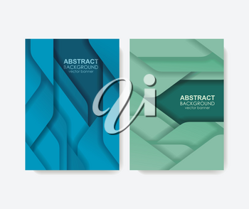 Abstract design for banners or brochure covers with background from layers and geometric shapes.