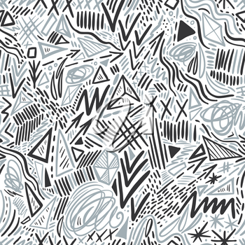 Geometric doodle hand drawn seamless pattern. Random decorative elements. Vector illustration