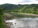 beautiful landscape with speed water in mountainous river