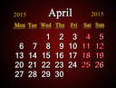 beautiful claret calendar on April of 2015 year
