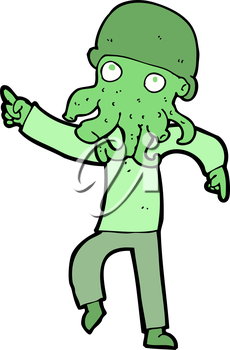 Royalty Free Clipart Image of an Alien Man Dancing