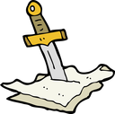 Royalty Free Clipart Image of a Sword Stabbing Paper