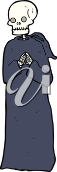 Royalty Free Clipart Image of a Skeleton in a Black Robe