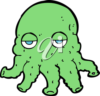 Royalty Free Clipart Image of an Alien Face