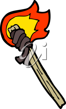Royalty Free Clipart Image of a Burning Torch
