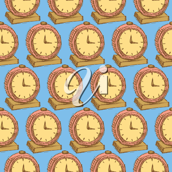 Sketch business clock  in vintage style, vector seamless pattern
