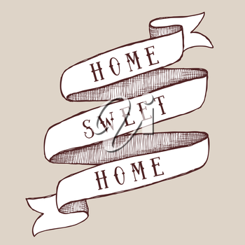 Home sweet home template in vintage style, vector