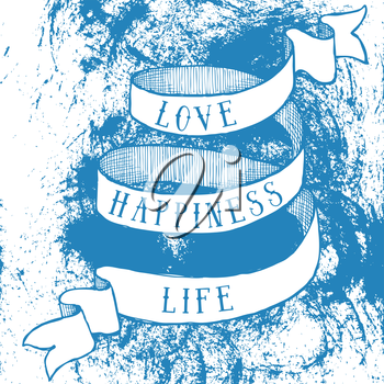 Love, happiness, life poster with ribbon in vintage style, vector