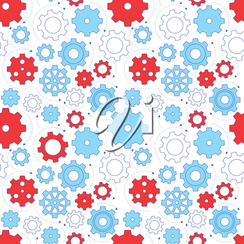 Gear line design seamless pattern. Simple business icons, working system metaphor, connections and workflow