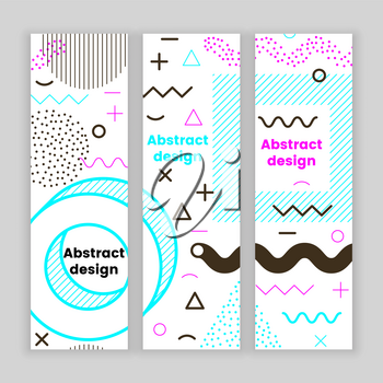 Mempis banner set, color hipster design, trendy style