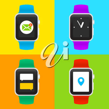 Set of Vector Smart Watch Icons