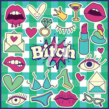 Chic Fashion Summer Patch Badges with Bitch Expression, Letter, Shit, Crown, Bra, Bikini, Lipstick, Heart, Glasses, Shoes, Ring, Drinks. Set of Stickers, Pins, Patches in Cartoon 80s-90s Comic Style.