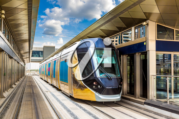 New modern tram in Dubai, United Arab Emirates