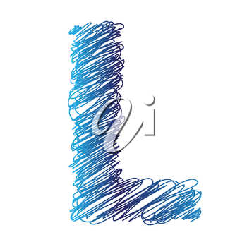 colorful illustration with sketched letter L on  a white background