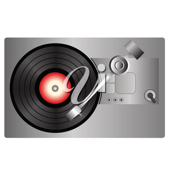 colorful illustration with vinyl record player  on a white background