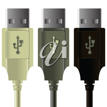 illustration  with USB cables on white  background