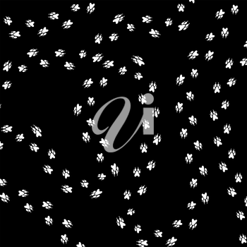 Paw Prints Silhouettes Isolated on Black Background